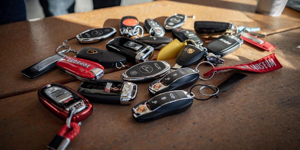 Member's car keys grouped on table