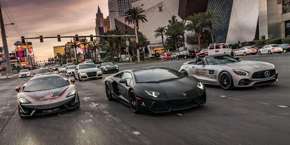 Fast Lane Drive members driving on Vegas strip